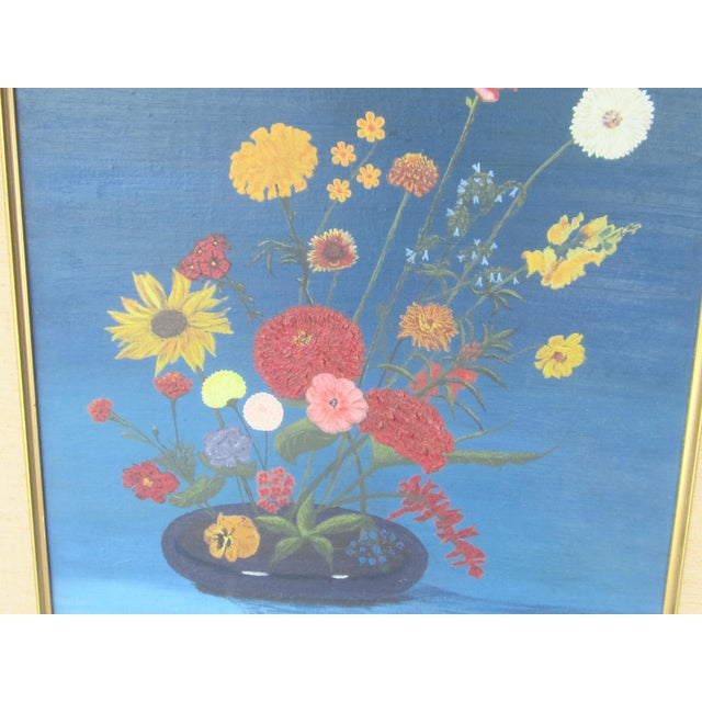 Bright colorful oil done in the primitive style. Framed with linen matt.