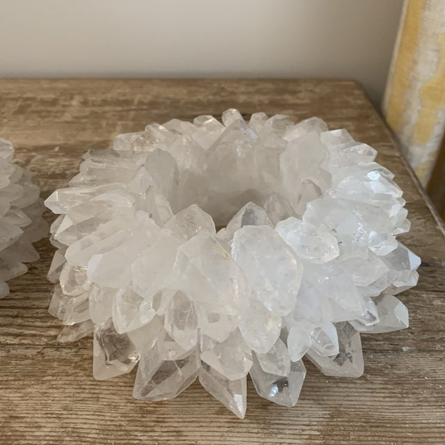 Contemporary Large White Rock Crystal Votive Candle Holders- a Pair For Sale - Image 3 of 8