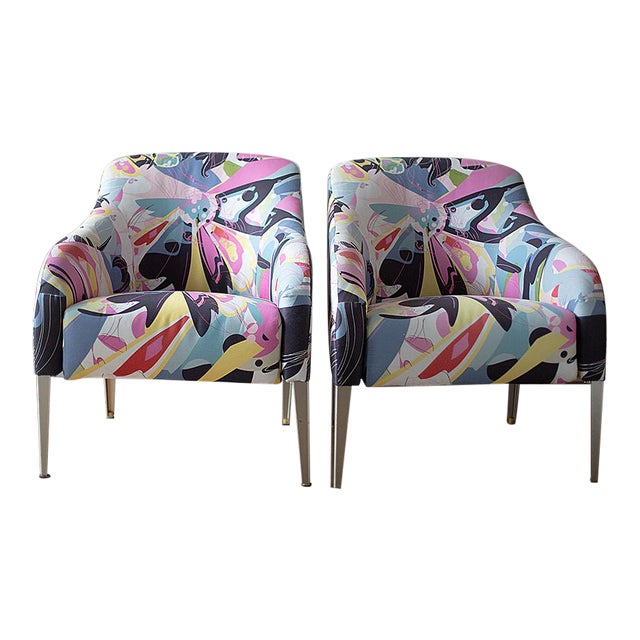 1990s Vintage B & B Italia Modernist Designer Club Chairs - A Pair For Sale