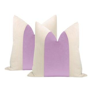 """22"""" Lavender Velvet Panel + Linen Pillows - a Pair For Sale"""
