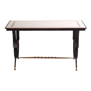 20th C. French Iron and Glass Mirrored Top Low Table For Sale