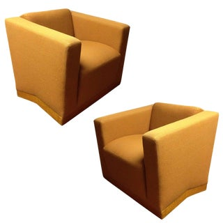 Pair of Dakota Jackson Lounge Chairs and Ottoman