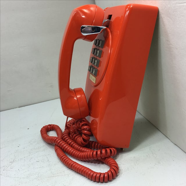 Bright Orange Push Button Wall Phone For Sale - Image 4 of 11