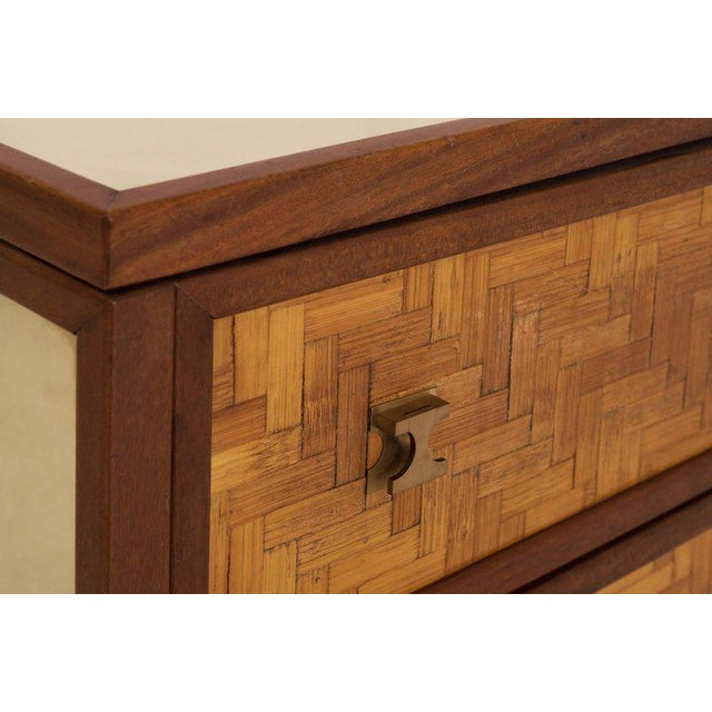 Metal Italian Glam Sideboard in Rattan, Teak and Brass, 1970s For Sale - Image 7 of 8