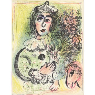 1963 Marc Chagall Original Lithograph, The Clown With Flowers For Sale