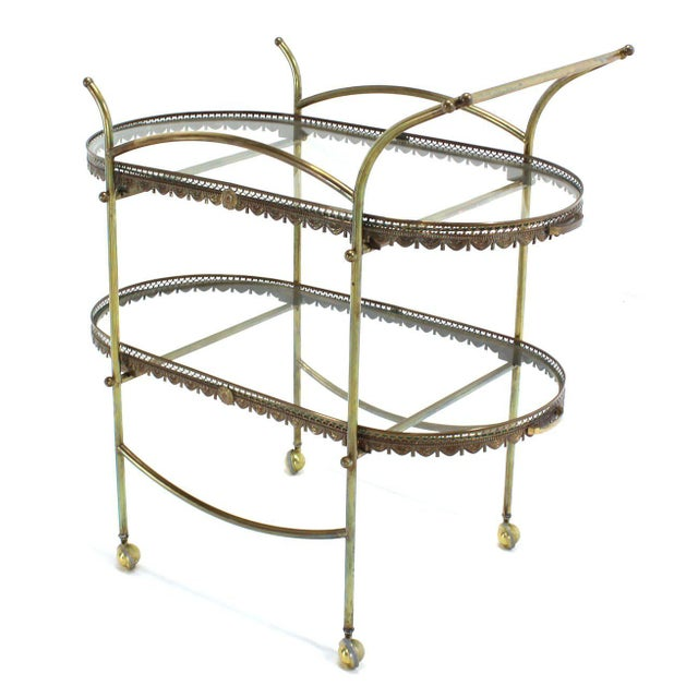 Two-Tier Brass Serving Cart Table with Removable Trays For Sale - Image 9 of 10