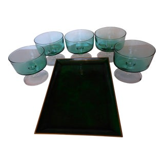 Lacquer Otagiri Malachite Tray with 5 French Pedestal Glasses - Set of 6 For Sale