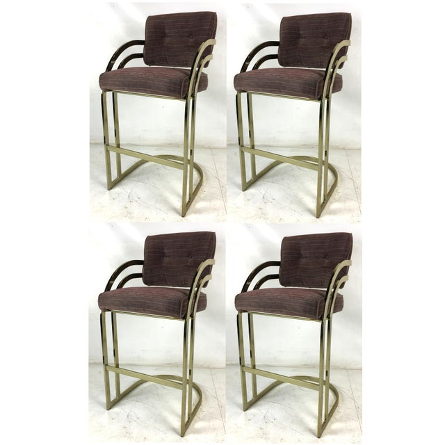Metal Brass Cantilevered Bar Stools - Set of 4 For Sale - Image 7 of 7