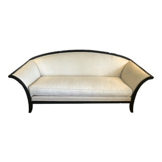 Curvy Backed Black Laquer Sofa With Linen Upholstery For Sale