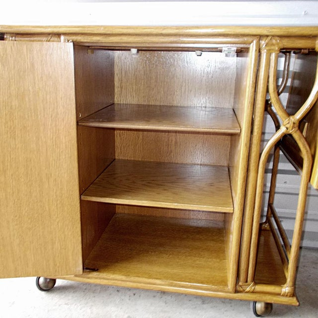 McGuire Vintage McGuire Rattan Drop Leaf Dry Bar/Bar Cart For Sale - Image 4 of 10