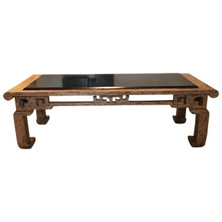 Custom Made Steve Chase Modern Chinoiserie Granite Top Coffee Table For Sale