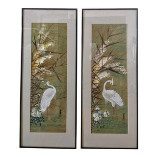 Japanese Original Egret Art Paintings - a Pair For Sale