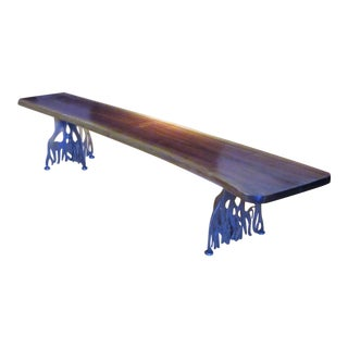 Solid Live Edge Walnut Metal Tree Root Design Legged Bench