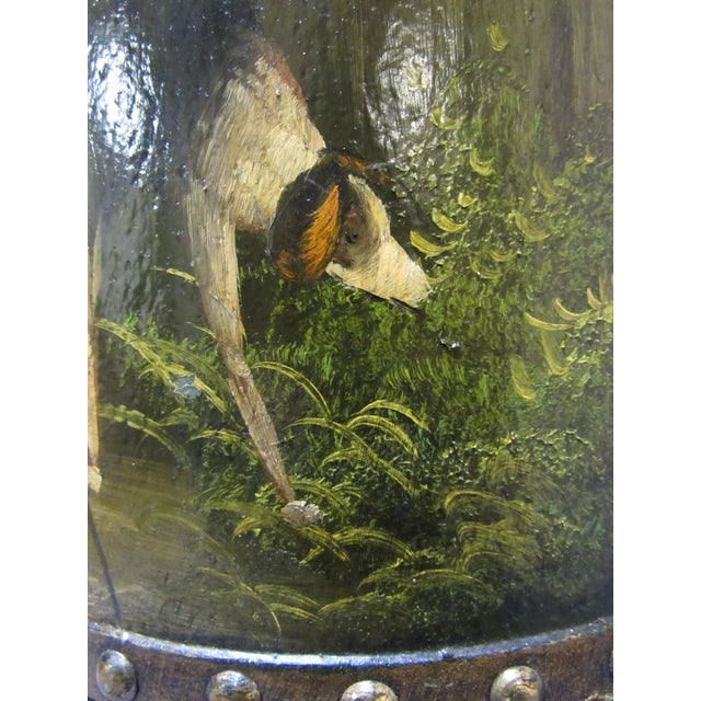 Green Waste Basket With Painted Hunt Scene For Sale - Image 8 of 13