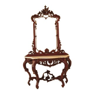 Victorian Style Carved Mahogany Console Table W. Mirror