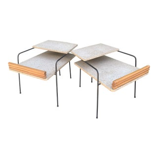 Shirley & Herb Ritts, Sr. Wroughtan 2-Tier Tables-A Pair For Sale