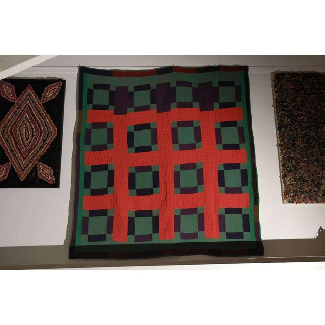Early 20thc Amish Nine Patch Wool Quilt From Pennsylvania - Image 2 of 9