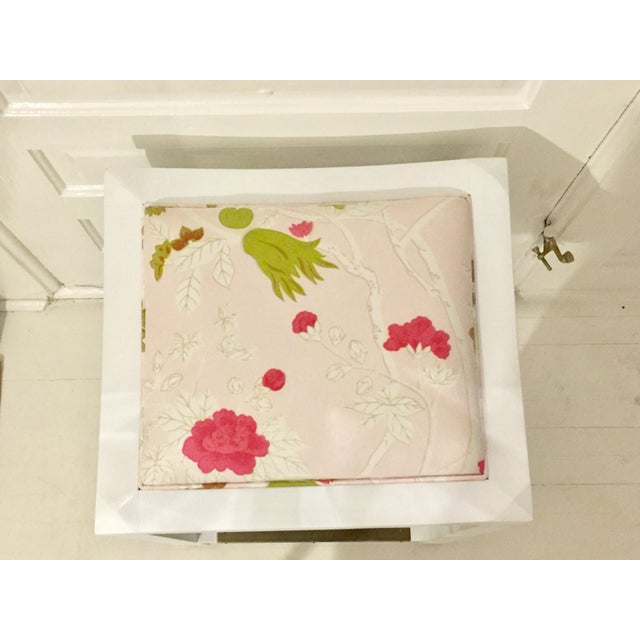 Asian Lee Industries White Maple & Pink Floral Fabric Bar Stool For Sale - Image 3 of 6