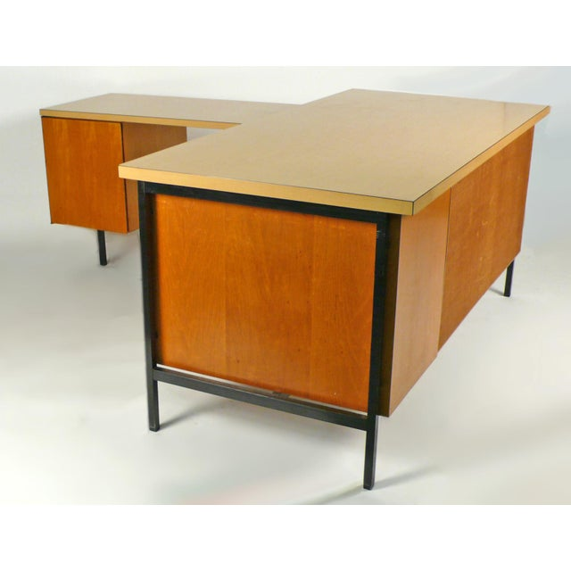 Mid-Century Modern Early Florence Knoll Desk and Return For Sale - Image 3 of 10