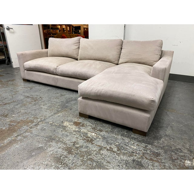Contemporary G. Ramono Micro Fiber Down Filled Two Piece Sectional For Sale - Image 3 of 12