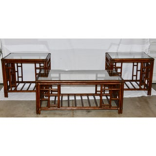 1980s Vintage McGuire Style Bamboo Rattan Glass Top Tables- Set of 3 Preview