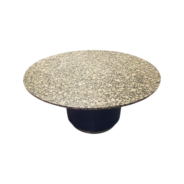 Round Granite Marble & Drum Base Dining Table For Sale