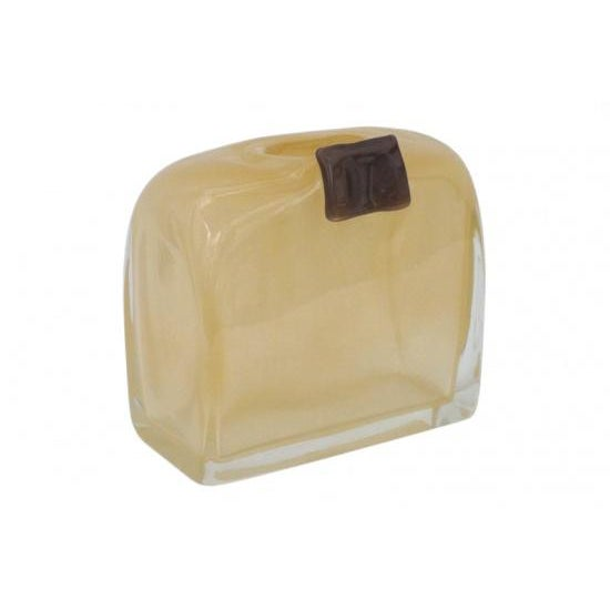 Contemporary Rectangular Gold & Mauve Art Glass Vase For Sale - Image 3 of 3