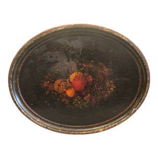 20th Century English Traditional Oval Hand Painted Tole Tray For Sale