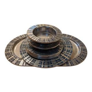 Wilton Mount Joy Pa Armetale Blue Plaid Platter, Plate, Dish, Wine Coasters - Set of 8 For Sale