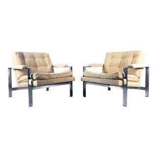 1970s Vintage Milo Baughman Style Chrome Flat Bar Lounge Chairs- a Pair For Sale