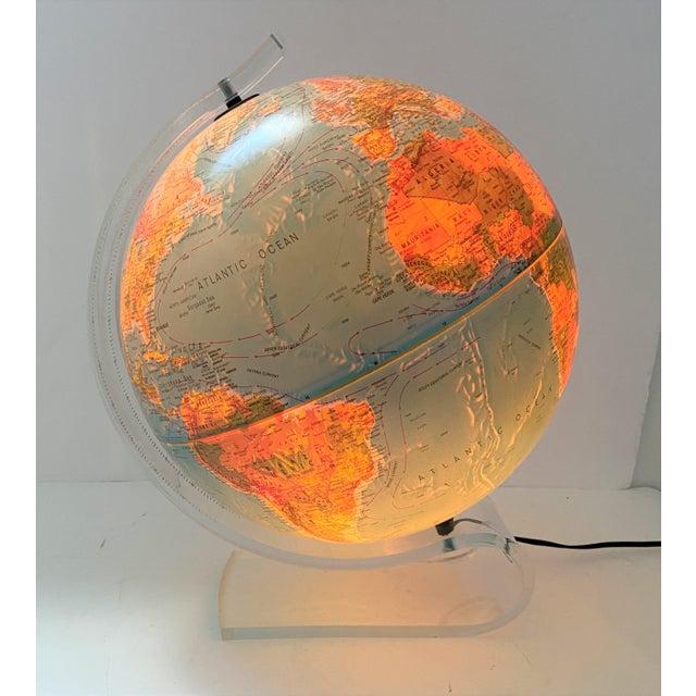 Lucite Holder and Vintage 1987 Illuminated World Globe For Sale - Image 11 of 11