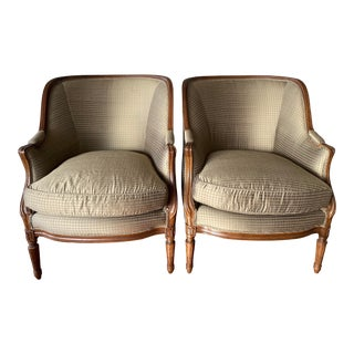 Custom Silk Covered O'Henry House Chairs - A Pair For Sale