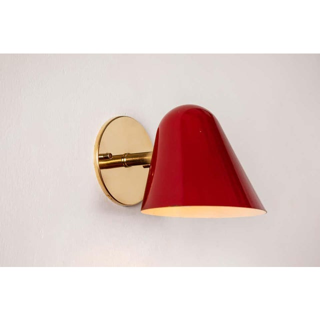 1950s 1950s Jacques Biny Red Wall Lights - a Pair For Sale - Image 5 of 13
