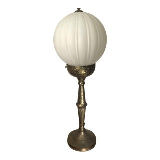 1960s Hollywood Regency Tall Brass Frosted Globe Table Lamp For Sale
