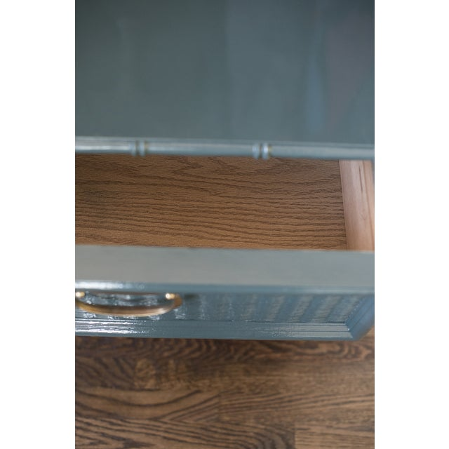 Teal Bamboo Lacquered Nightstand - Image 4 of 7