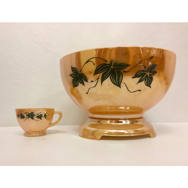 1970s 1960s Anchor Glass Peach Luster Nostalgia Punch Serving - Set of 12 For Sale - Image 5 of 11