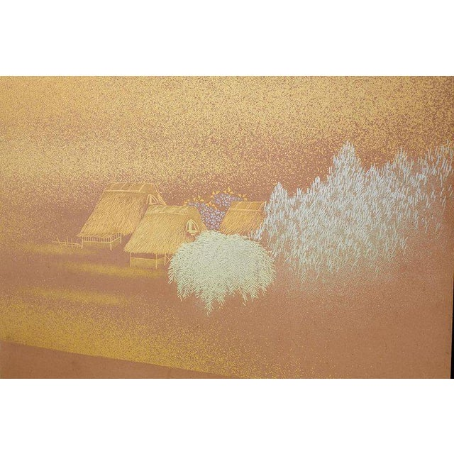 Japanese Two-Panel Gold Leaf Screen by Yoshikawa For Sale In San Francisco - Image 6 of 13