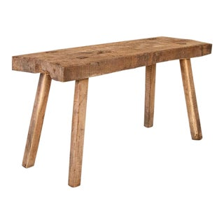 Antique Rustic Thick Slab Top Wood Console Table With Square Splay Legs For Sale
