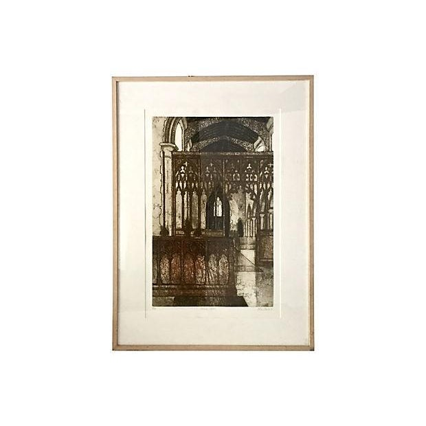 Engraving Original Vintage Valerie Thornton Etching of a Gothic Church Interior For Sale - Image 7 of 7
