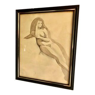 Vintage 1960s Artist Sketch Female Nude Drawing For Sale