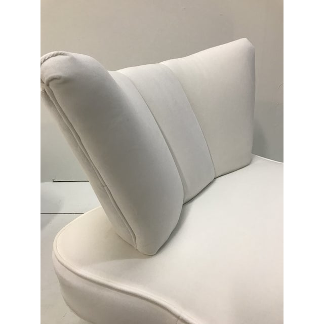 20th Century Pair Sculptural Art Deco Slipper Arm Less Chairs Attributed to Grosfeld House For Sale - Image 9 of 12