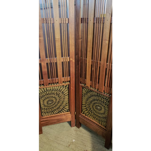 This five panel folding screen in American Black Walnut, features a modern green silk Obi made in Kyoto Japan, and is...