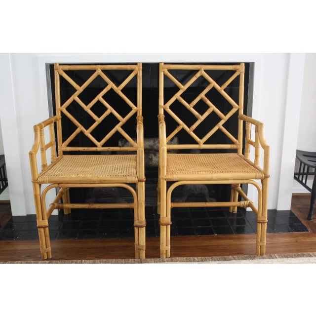 Vintage Palm Beach Style Bamboo Rattan Cane Chippendale Armchairs - a Pair For Sale - Image 13 of 13