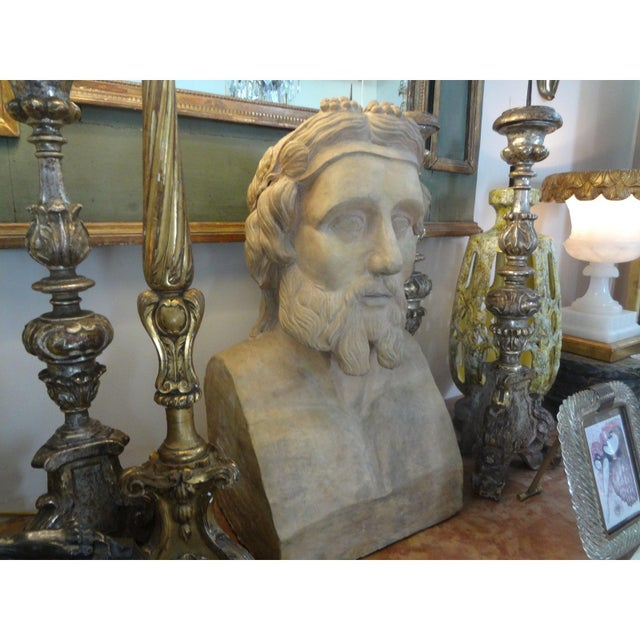 19th Century 19th Century Monumental French Terra Cotta Bust of a Classical Greek For Sale - Image 5 of 11