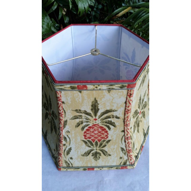 Vintage Pineapple Greeff Fabric Mustard Olive Green and Coral Lampshade For Sale - Image 4 of 11