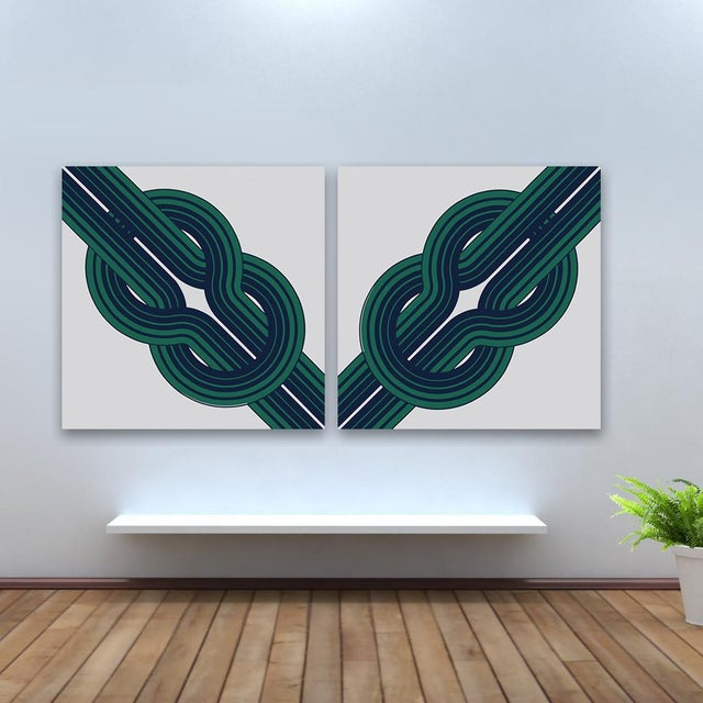 Vintage 1970s Green Knot Supergraphics - A Pair - Image 2 of 2