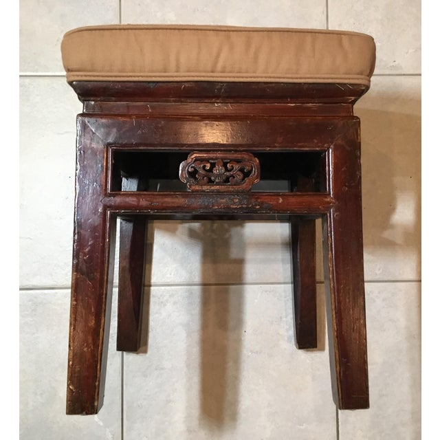 Antique Upholstered Chinese Foot Stool For Sale In Miami - Image 6 of 13