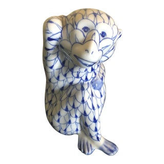 Vintage Herend Style Blue and White Monkey Figure For Sale