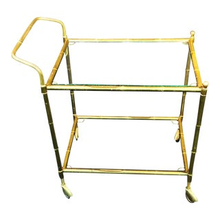 Bagues Style Brass Bamboo Bar Cart For Sale
