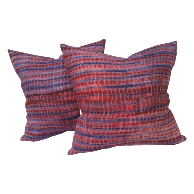 Burmese Hand Batiked Linen Pillows - Image 1 of 5